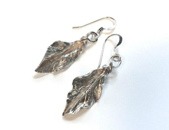 Foldformed silver romantic leafy rustic woodsy earrings