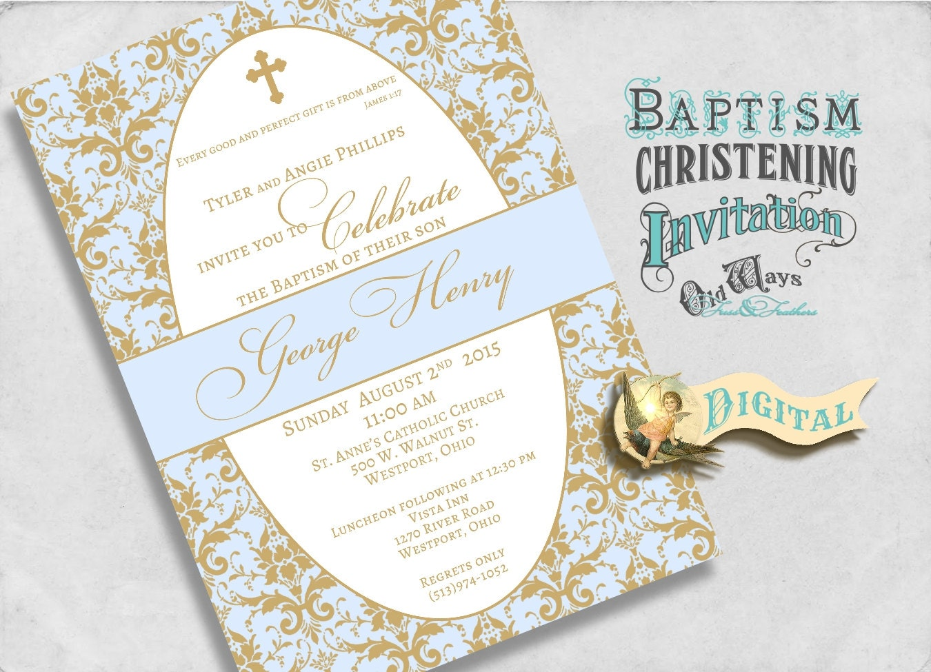 Blue and Gold Baptism Invitation for a Boy Christening or