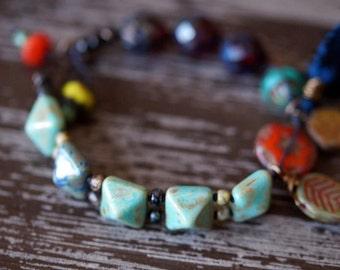 Beaded Bracelet - Ethnic Tassel Bracelet - Garnet and Turquoise Bracelet - Boho Bracelet - Tile Bracelet - Bead Soup Jewelry
