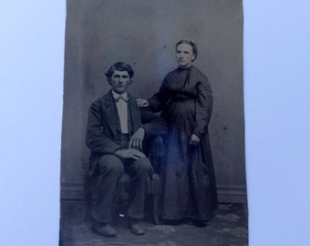 Antique Tin Type Photograph of Man and Woman Vintage Ferrotype 2-1/2 x 4