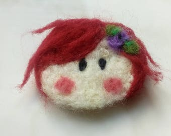 Brooch pin needle felted, handmade girl head brooch