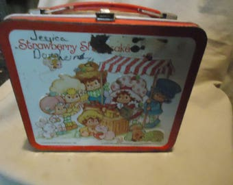 Vintage 1981 Strawberry Shortcake Metal Lunch Box by Aladdin With Thermos, Lunchkit, collectable