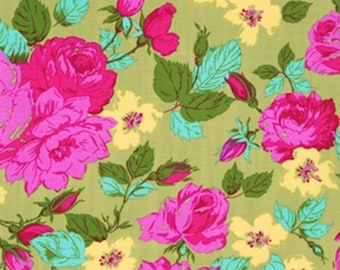 """OOP 38"""" Cut PWJP069 Jennifer Paganelli ELOISE Happy Land Green Floral Celadon Rowan Westminster Quilt Quilting Sewing Cotton Fabric Sis Boom"""