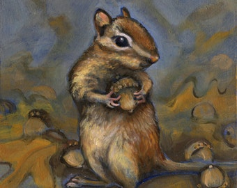 Chipmunk with an acorn, Oil Painting, Wildlife Painting, Original Art, Forest Animal Art, One of a Kind