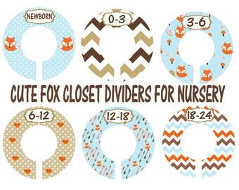 Fox Nursery Closet Dividers, Clothes Dividers, Blue Brown Orange Nursery, Custom Divider for closet, Plastic Clothes Divider
