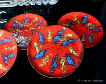 5x Vintage Red Enamel Coated Coasters / Made of Copper, Enamel Coated / Mid Century Bar Cart Accessories