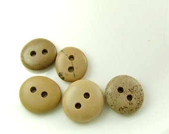 Double Drilled Natural Beach Stone Buttons 5 pcs, Big Pebbles Sewing Materials Jewelry Supplies