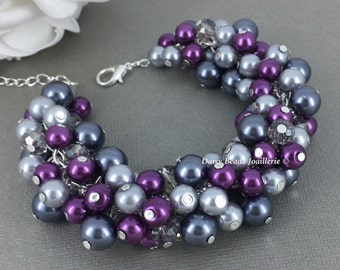Pearl Cluster Bracelet Grey and Purple Bracelet Pearl Bracelet Plum Grey Bracelet Bridesmaids Gifts Bridal Party Maid of Honor Prom