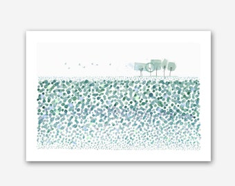 Late summer-Fine art Giclée print-modern Watercolor Green Meadow Watercolor Landscape Abstract