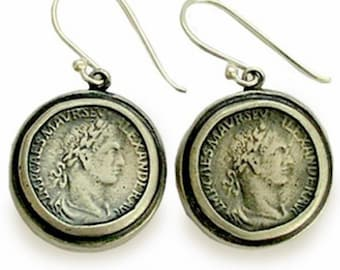 Antique coin earrings, round dangle earrings, oxidized silver earrings, sterling silver earrings, antique style earrings - Retrospect E7872