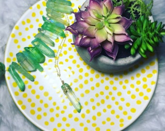 Granny Smith Green Crystal Aura Quartz Necklace