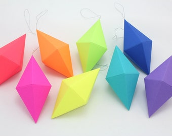Geometric Paper Gem Ornaments - Dipyramid - Neon Bright Rainbow - Set of 8 -  template, pattern, DIY, origami