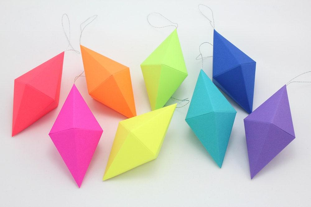 Paper Gem Templates Ornaments Neon Bright Rainbow Set Of 8