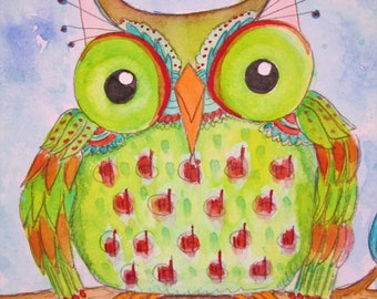 Original Watercolor Lime Green Owl and Red Pink Flowers by Ceville Designs