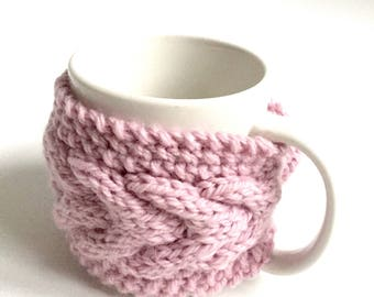 mug cozy knitted mug warmer pink cup cozy