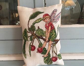 Handmade Cross Stitch Flower Fairy Cherry Blossom Spring Decor Pillow Nursery Decor