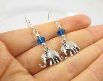 Elephant Earrings- choose a birthstone, Elephant Jewelry, Elephant Gift, Silver Elephant Earrings, Silver Elephant Jewelry, Elephant Charms