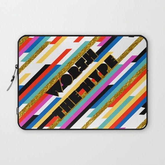 Worth The Hype Stripe  Laptop Ipad Sleeve