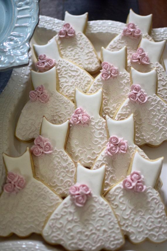 Bridesmaid Dress Cookies- 10 Pieces Cookie Favors, Wedding Cookies,  Bridal Shower Cookies, Wedding Dress Cookies