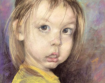 Custom portrait from photo Pastel portrait of a child. 17,72 x 13,39 in.