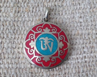 Turquoise Coral OM Pendant Locket