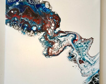 Abstract Painting Original Art Fluid Acrylic Flow Painting on Canvas, Blue And Red Pour