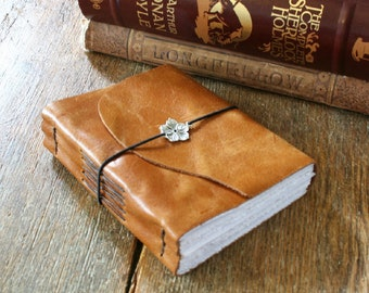 """Leather Journal . W.B. Yeats: """"He Wishes For the Cloths of Heaven"""" . handmade handbound .  golden tan (320pgs)"""