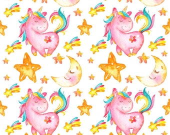 Fat Quarter Unicorn, Unicorn fabric,  Unicorn Rainbows fabric,  100% Cotton, Baby Cotton Fabric, Unicorn baby fabric, Unicorn