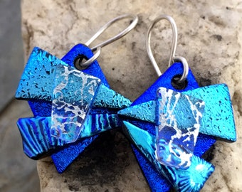 Pretty 3D Dichroic Glass Earrings - Blue & Silver with Sterling Silver Hooks