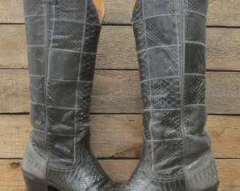 Vintage Ladies Nocona Size 4.5B Gray Patchwork Snake Cowgirl Western Boots