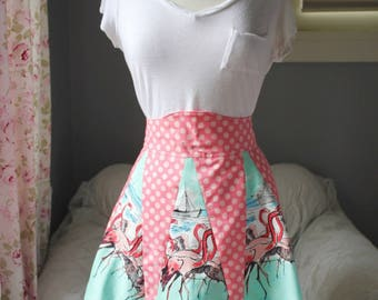 1940s Style Half Apron with Flamingos