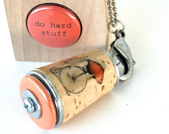 Black Friday Cyber Monday Sale Bicycle Necklace - Recycled Cork Jewelry in Test Tube - DO HARD STUFF by Uncorked