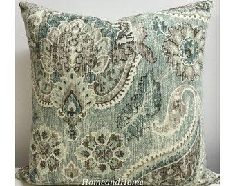 Paisley pillow cover Zipper Closure P Kaufmann Plazzo Paisley Geyer blue teal pillow cover Decorative Throw Pillow 16x16