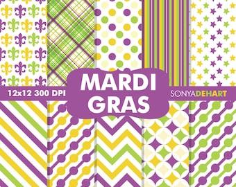 Mardi Gras Digital, Mardi Gras Papers, Mardi Gras Scrapbook, Digital Mardi Gras, Fleur De Lis Pattern, Carnival Papers