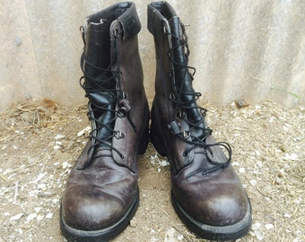 VTG Military COMBAT Lace Up Grunge Punk Boots Leather Mens 9.5