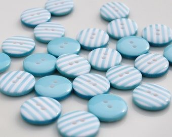 10 Turquoise Stripy Buttons (12mm)