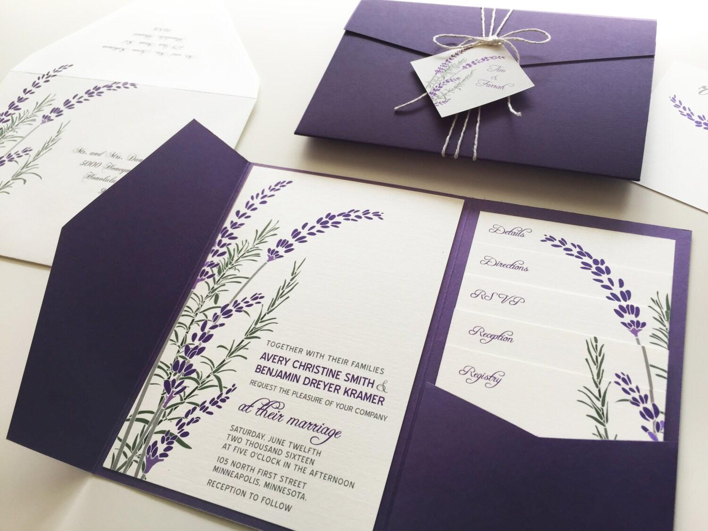 Lavender Wedding Invitation Sample Purple Pocketfold Tags