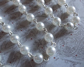 Beaded Chain - Pearl Bead Chain - Rosary Chain - 6mm White Pearls - Silver Bead Chain - Glass Pearls - Jewelry Supplies