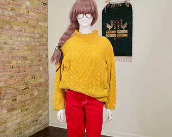 yellow chenille sweater / cableknit sweater / mock neck / 90s sweater / oversized sweater / tunic sweater / colorblock / chunky knit sweater