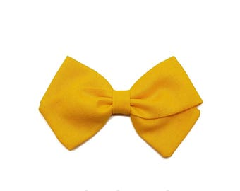 Barrette girl or baby yellow gold bow headband