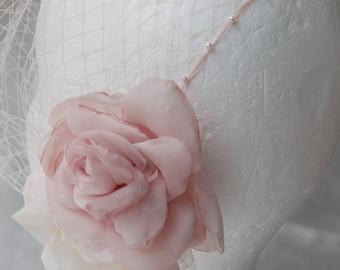 Blush bandeau style birdcage veil;blush bridal birdcage veil;blush floral netted birdcage veil