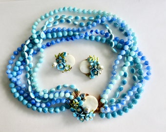 Mother of Pearl Enamel Rhinestone Plastic Bead Necklace and Earrings