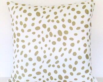 Metallic Gold Pillow Cover, Gold Pillow,  Gold Leopard Pillow, Gold Decorative Pillow, Gold Throw Pillow, Accent Polka Dot Invisible Zipper