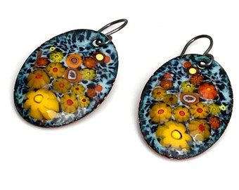 Colorful Enamel Earrings, Copper Enameled Jewelry, Yellow & Orange Floral Design, Artisan Hand Crafted Dangles, Vitreous Enamel Gift for Her