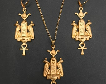 Egyptian Cartouche Pendant & Earring Set