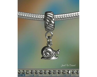 Tiny Snail Charm or European Style Charm Bracelet .925 Sterling Silver