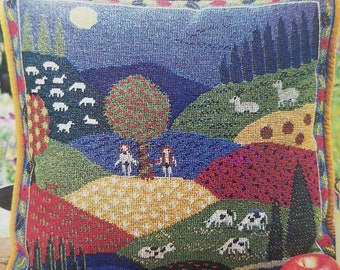 """Counted cross stitch or needlepoint pattern """"Garden of Eden"""" pillow or wall tapestry"""