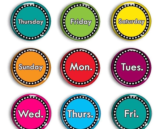 Days Of The Week Magnets - Date Magnets - Chalkboard Magnets - Calendar Magnets - Educational - Preschool Learning - Learning - Classroom