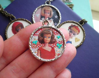 Vintage Barbie Necklace - Classic Brunette Barbie + Hearts & Dots Pendant Jewelry Gift for Her - Iconic Barbie Cameo Upcycled Paper Charm