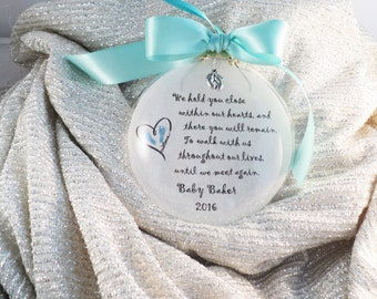 In Memory Baby Loss, Miscarriage, Infant Remembrance, We Hold You Close Within Our Hearts Christmas Ornament, Personalized with Free charm